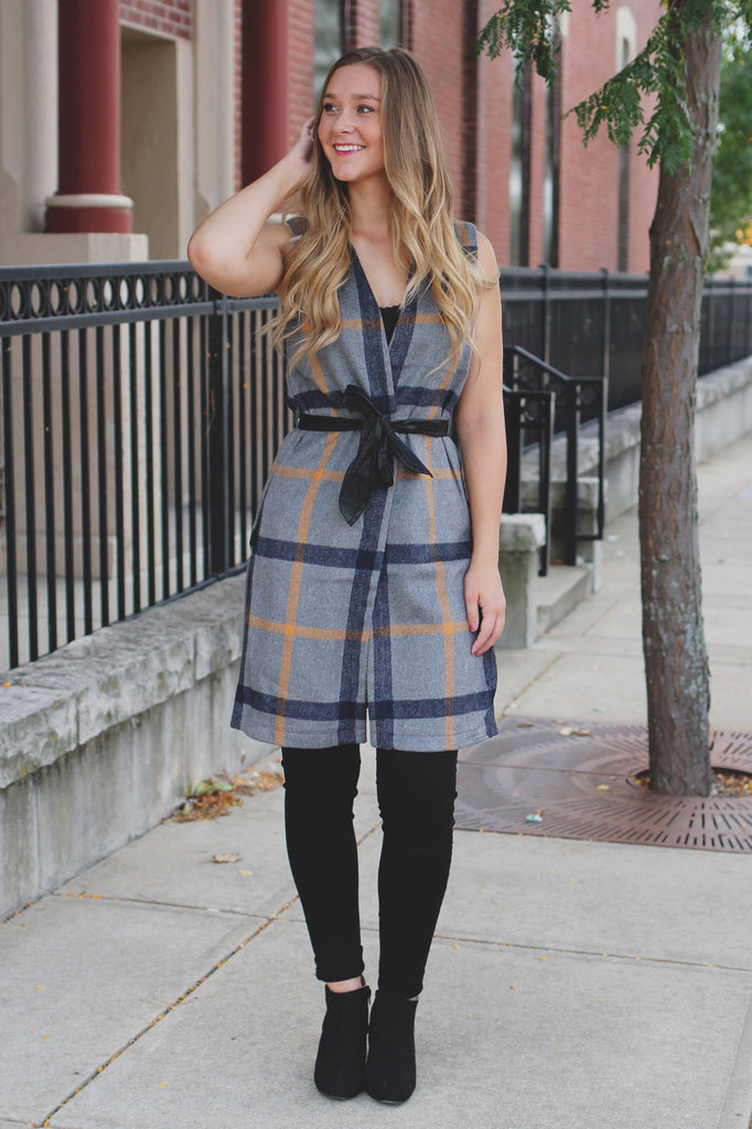 Plaid Sleeveless Faux Leather Belt Vest