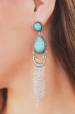 Turquoise Stone Accent Chain Fringe Drop Earrings