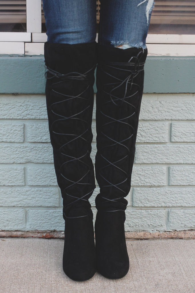 Round Toe Lace Up Over the Knee Boots York-02