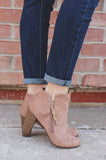 Sand Round Toe Zipper Accent Ankle Booties gina-31