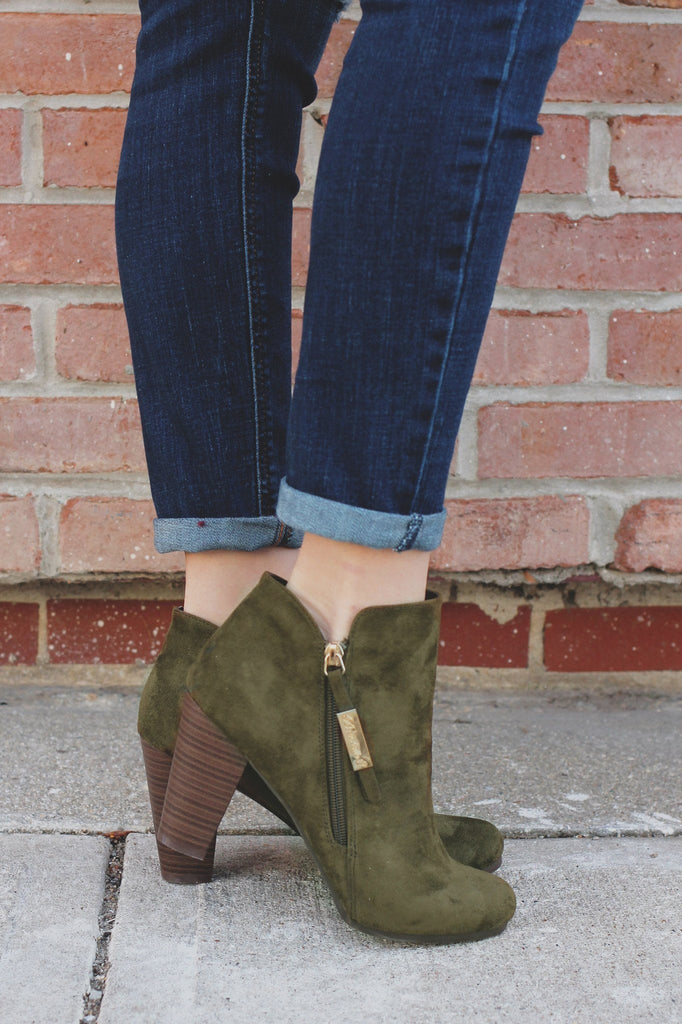 Olive Round Toe Zipper Accent Ankle Booties gina-31