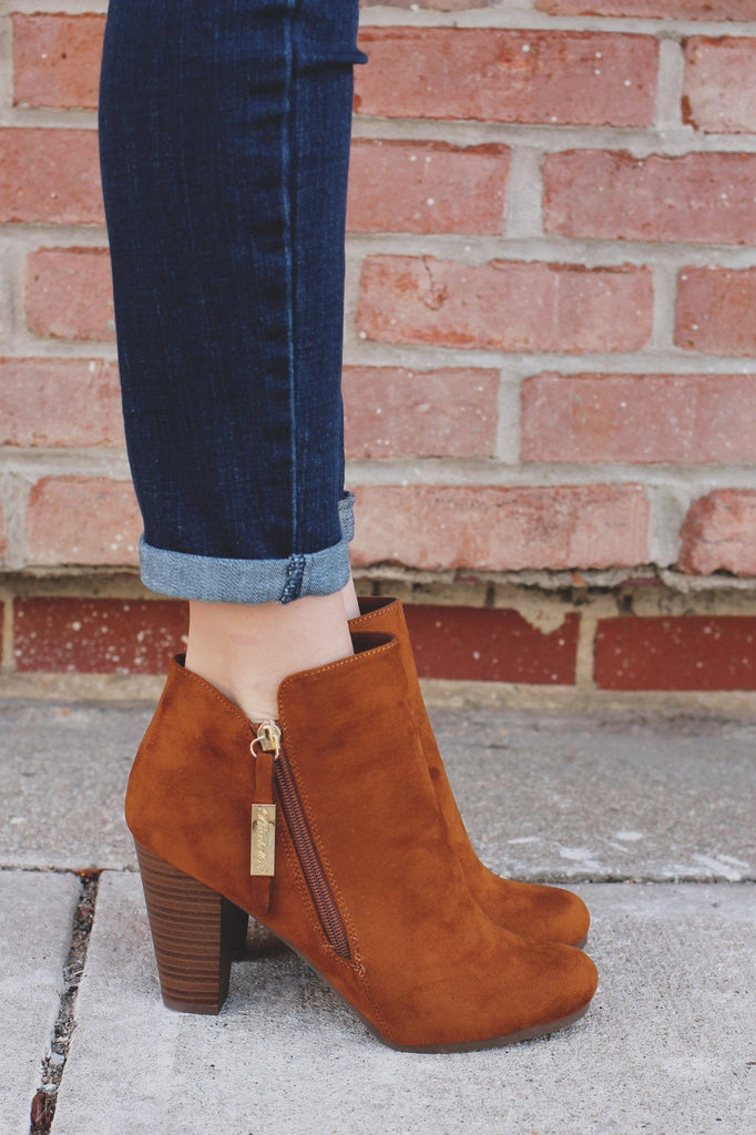 Whiskey Round Toe Zipper Accent Ankle Booties gina-31
