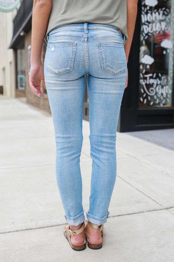 Light Wash Low Rise Skinny Fit Distressed Frayed Denim