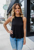 Black Sleeveless Round Neck Loose Fit Basic Top