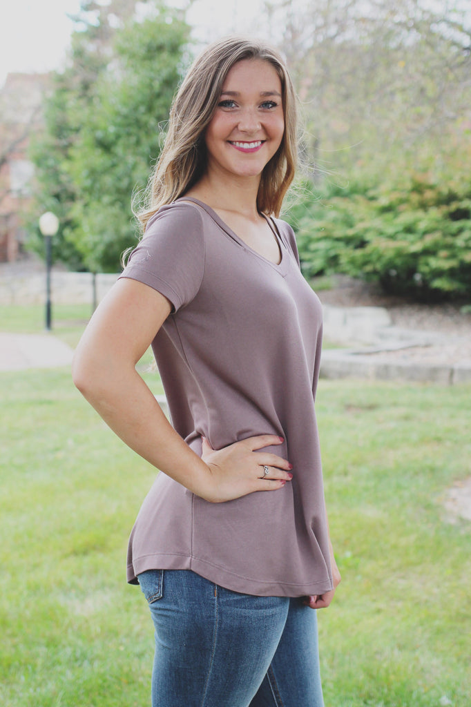 Taupe Collar Bone Cutouts Short Sleeve Top