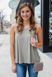 Sage Sleeveless Fly Away Cut Out Back Top