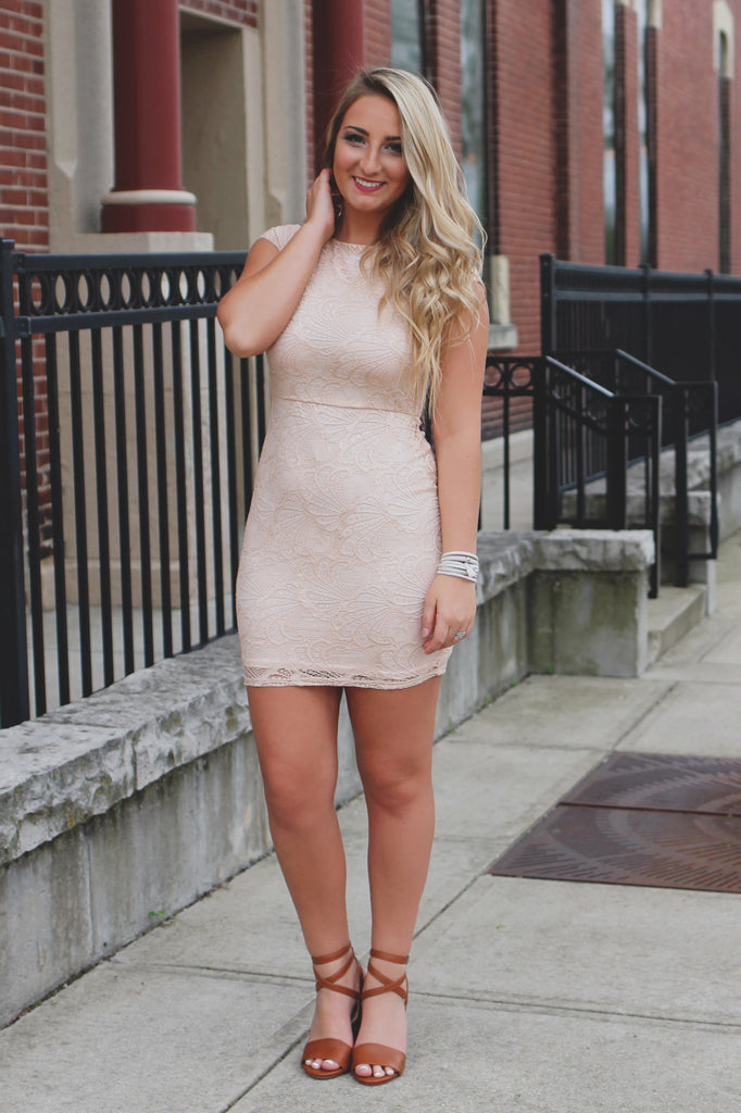 Lace Boat Neck Cap Sleeve Exposed Zipper Bodycon Dress