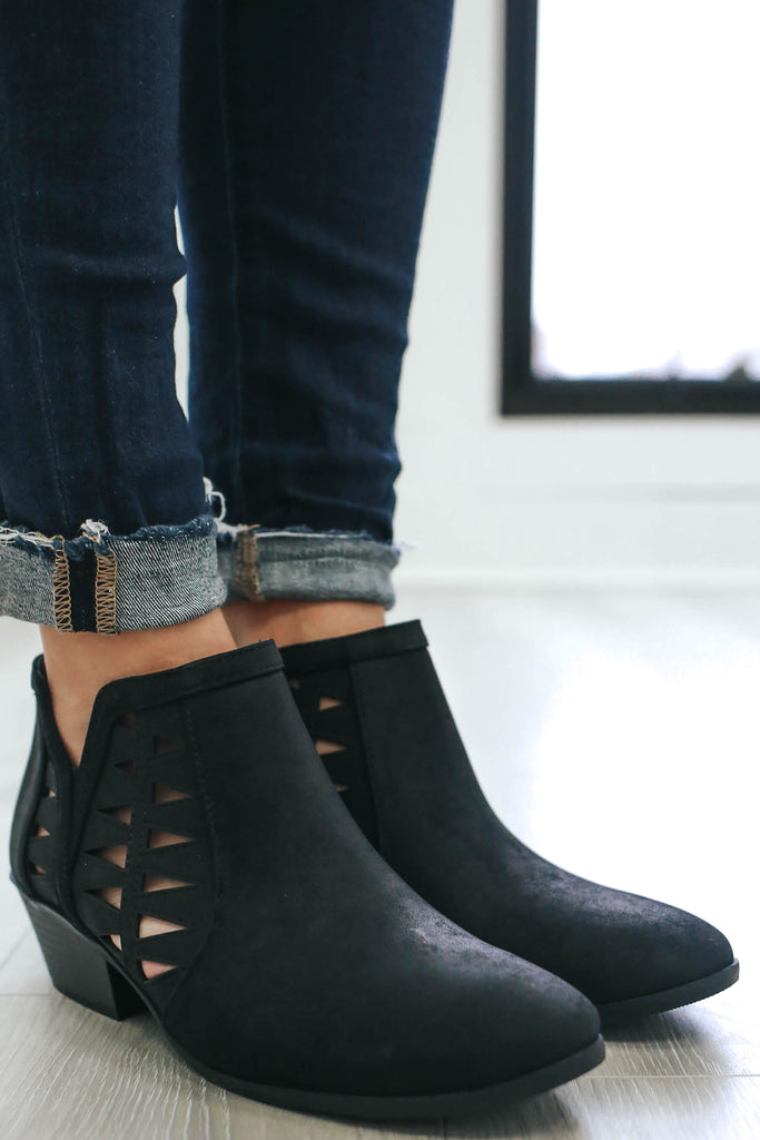 Chance-S Faux Leather Ankle Booties - Online Clothing Boutique
