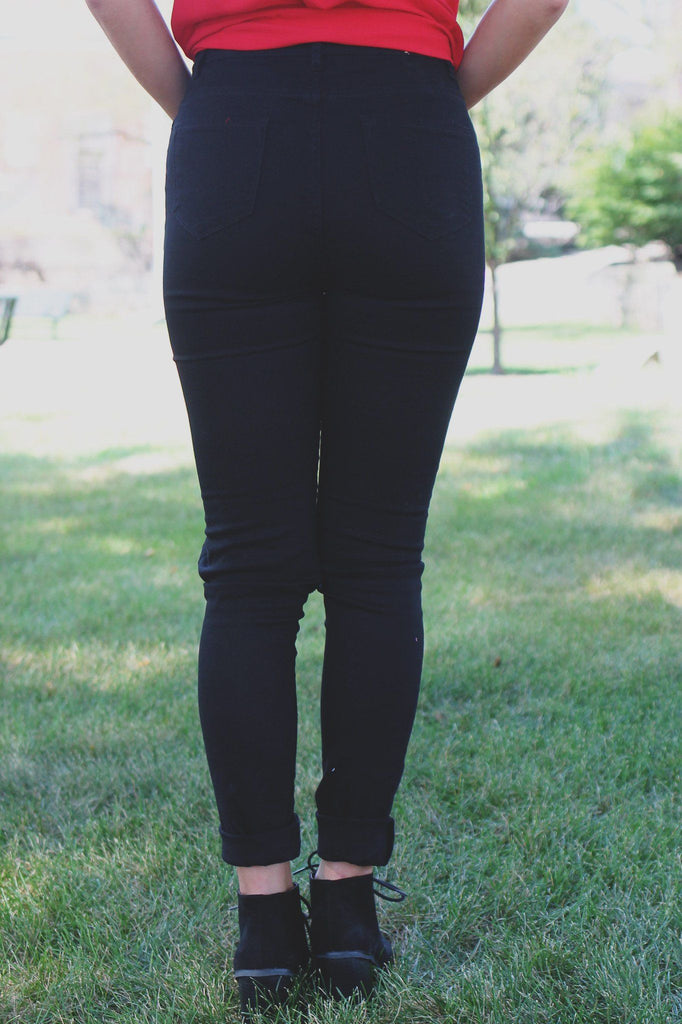 Black High Waisted Destroyed Denim