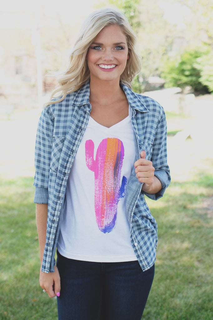 Short Sleeve Round Neck Bright Cactus Graphic Tee