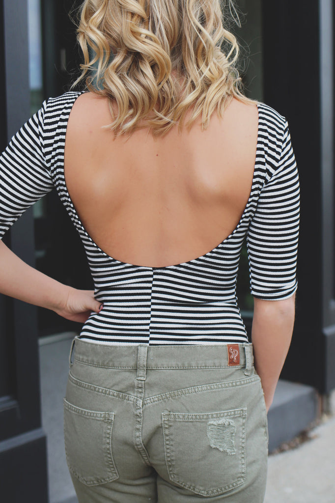 Striped Ribbed Knit Cut Out Back Bodysuit