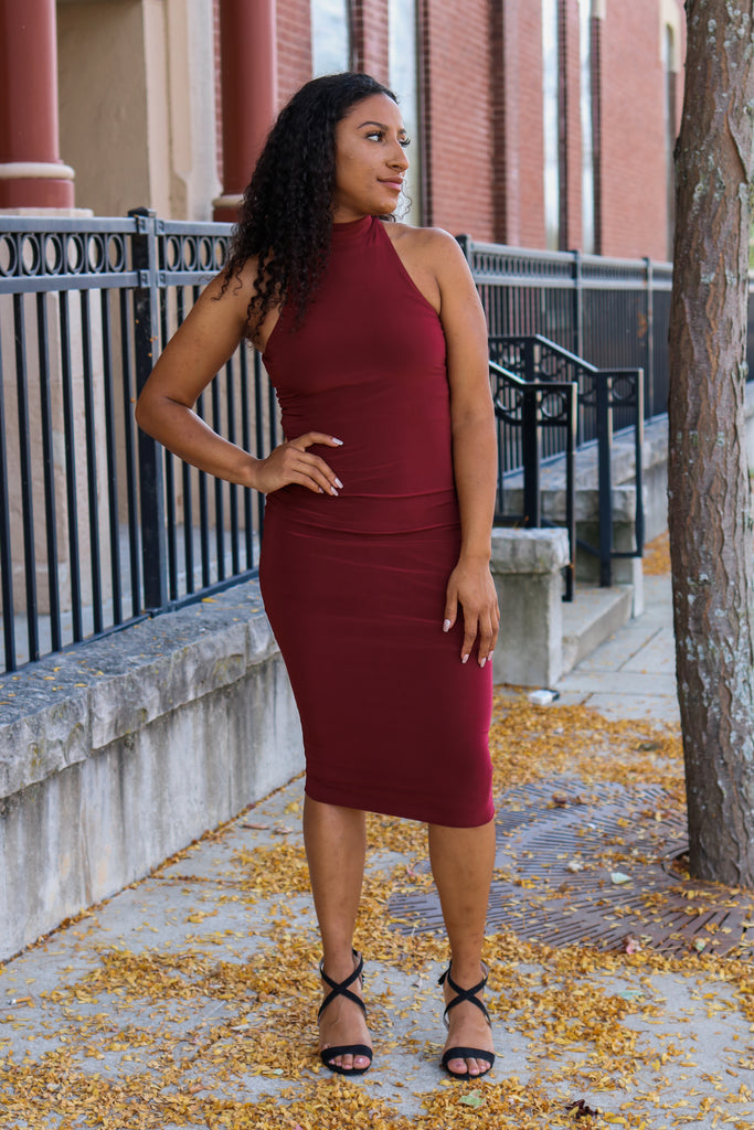 Burgundy Bodycon Midi Dress - Online Clothing Boutique