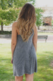 Charcoal Sleeveless High Neck Soft Knit Trapeze Dress