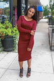 Burgundy Long Sleeve Midi Dress - Online Clothing Boutique