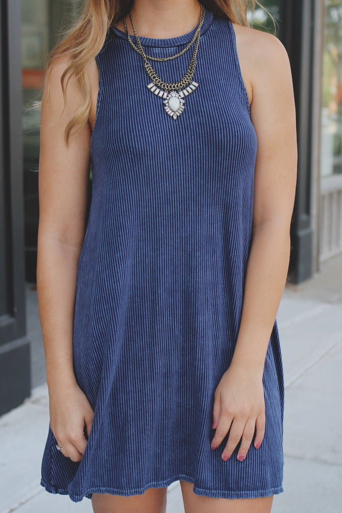 Navy Sleeveless High Neck Soft Ribbed Trapeze Dress