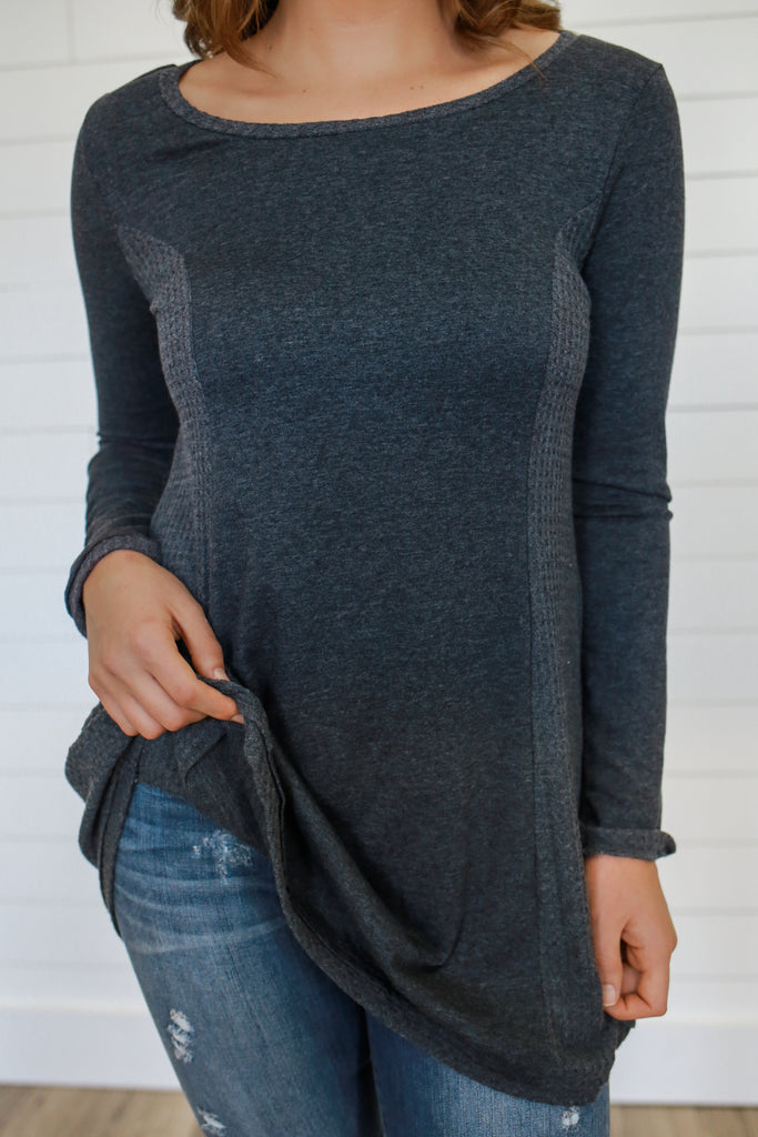 Tri-Blend Waffle Knit Tunic - Online Clothing Boutique