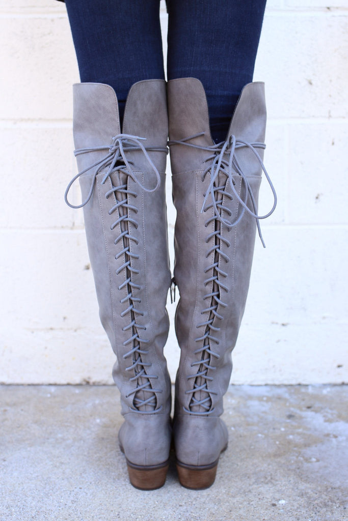 Faux Leather Lace Up Back Over the Knee Boots Dallas-36