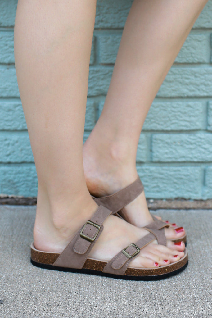 Faux Suede Designer Inspired Strappy Buckle Sandals Bork-30