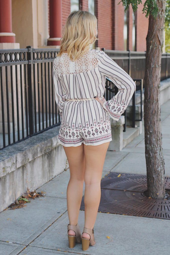 Faux Wrap Front Long Bell Sleeve Lace Panel Romper