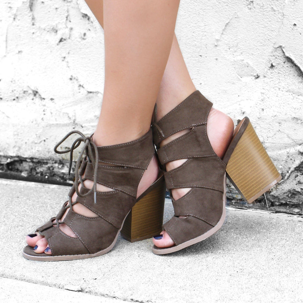 Olive Gladiator Style Caged Peep Toe Bootie Barnes-01