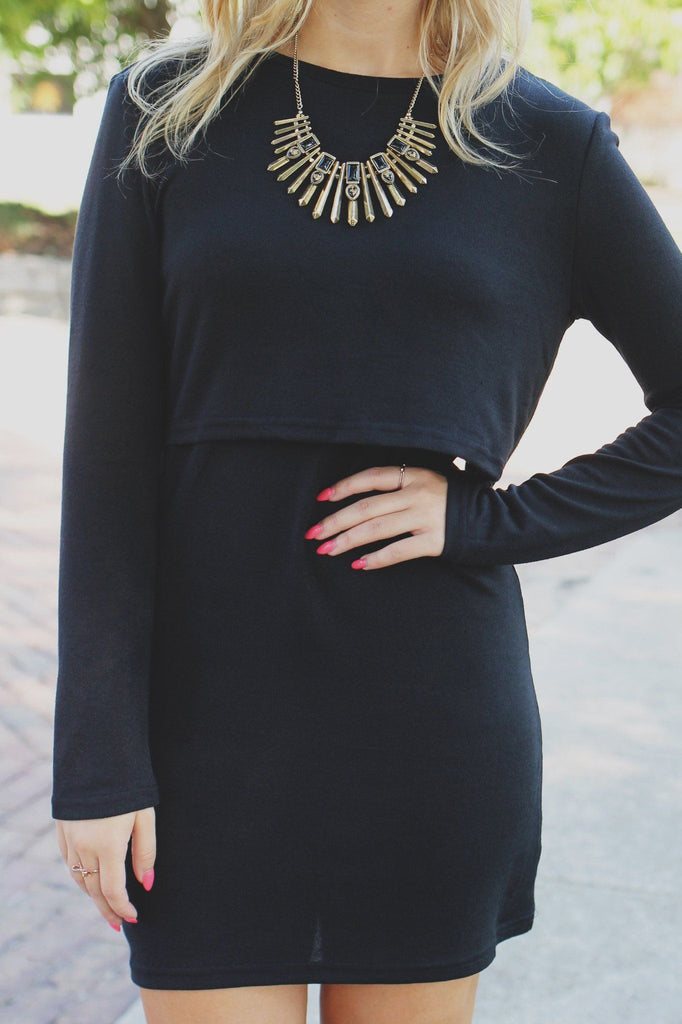 Long Sleeve Fly Away Back Knit Bodycon Dress
