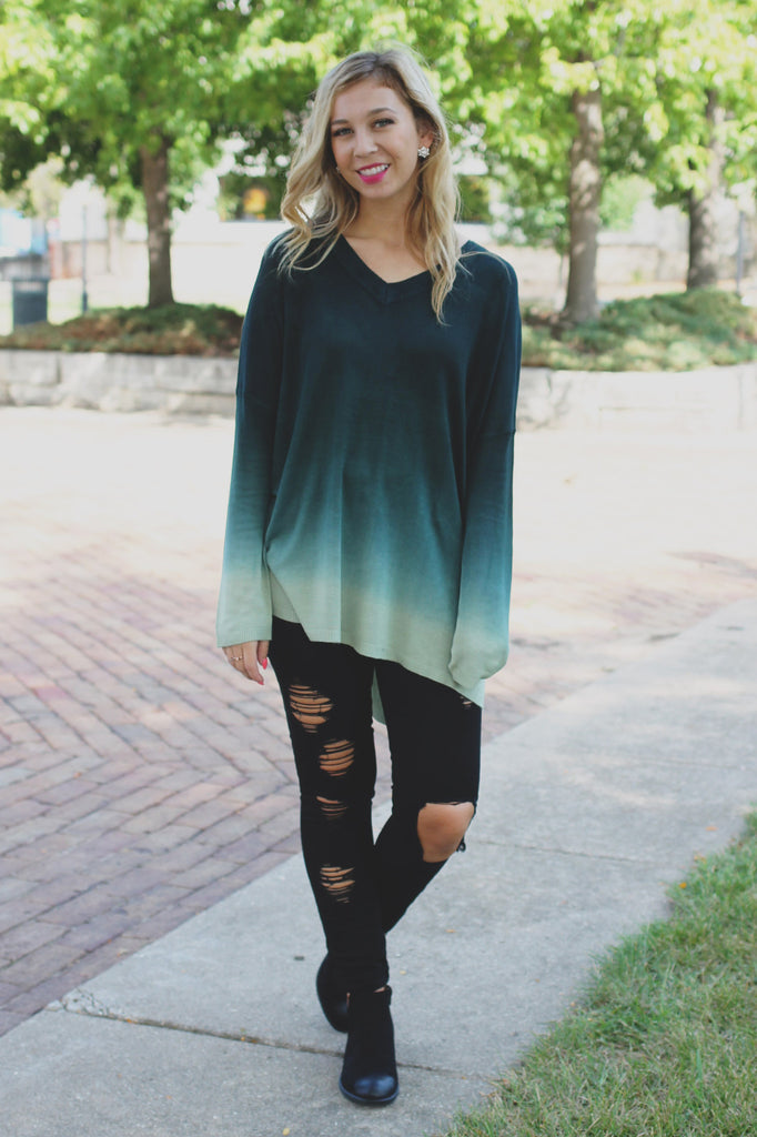 Oversized Long Sleeve V-neck Ombre Top