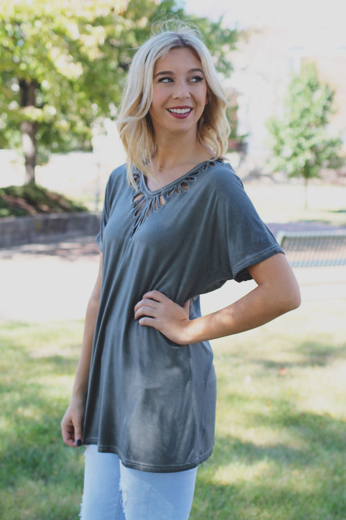 Charcoal Cutout V-Neck Top