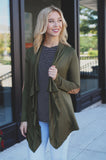 Elbow Patch Detail Open Front Asymmetrical Hem Cardigan