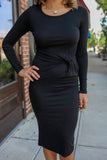 Black Long Sleeve Midi Dress - Online Clothing Boutique