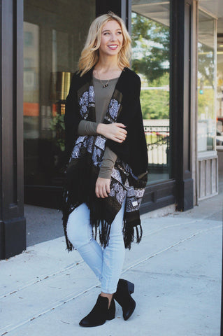 Falling Leaves Cardigan - Black