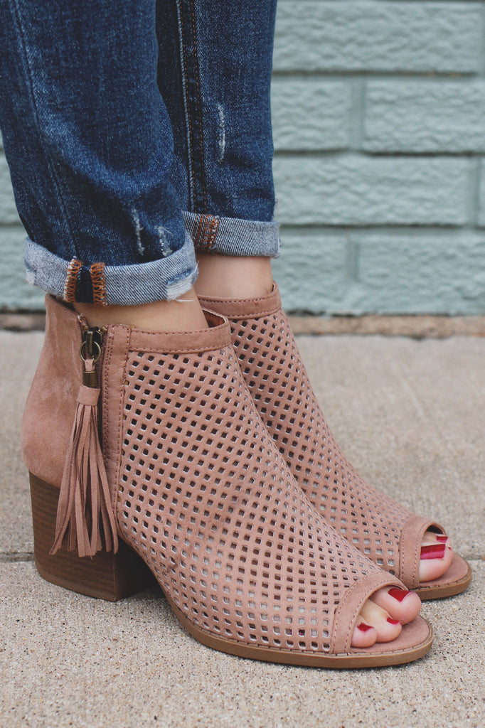 Peep Toe Perforated Tassel Booties Core-18
