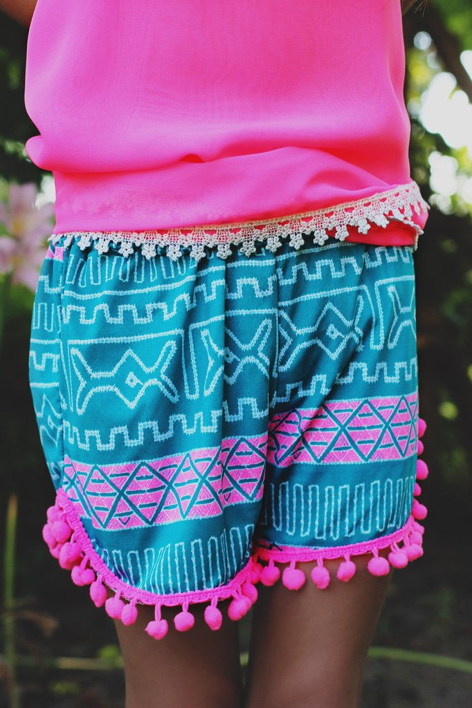 Kids Aztec Pom Pom Trim Shorts