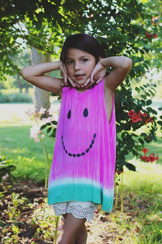 Kids Tie-dye Smile Graphic Tank
