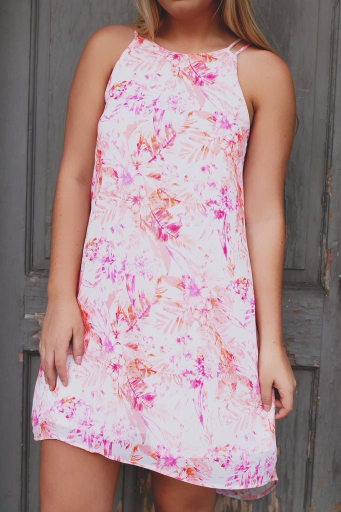 Floral Print Keyhole Back High-low Hem Shift Dress