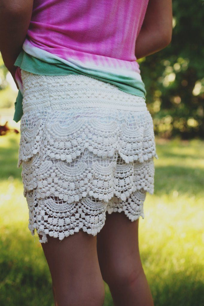 Kids Ivory Crochet Ruffled Shorts