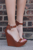 Whiskey Faux Leather Wrapped Platform Wedge VIVI-41