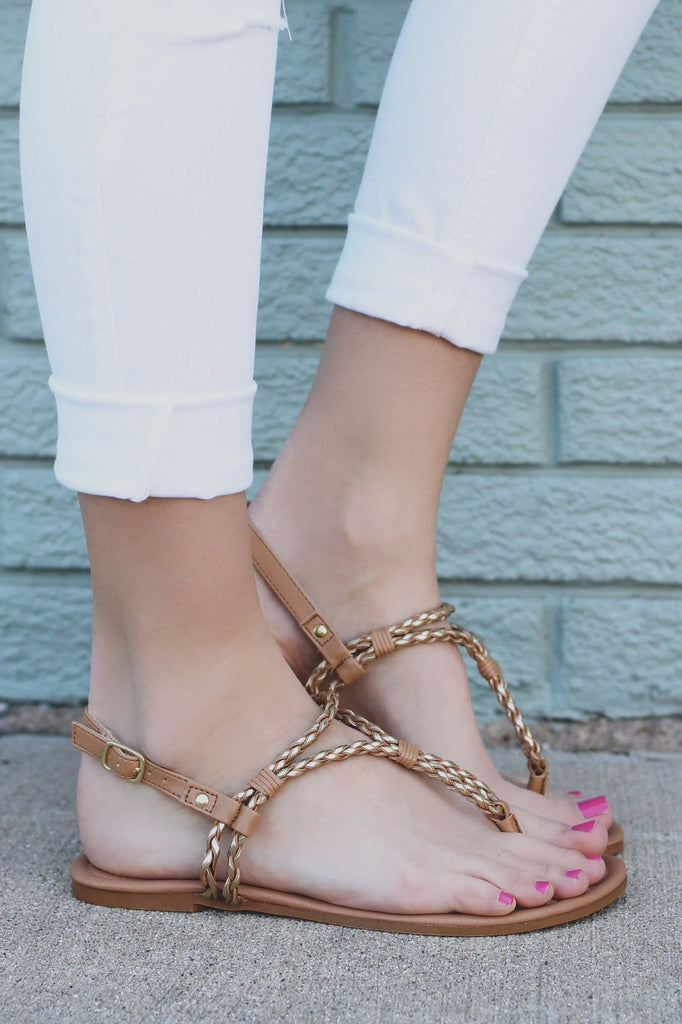 Faux Leather and Gold Braided Accent Sandals Archer-143