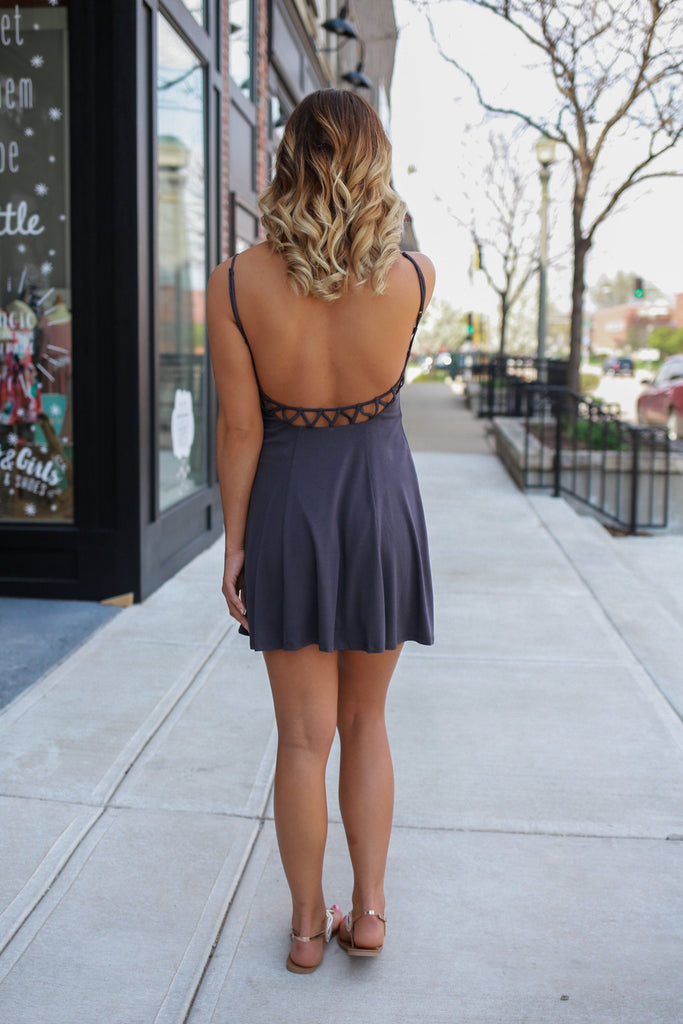 Adjustable Cami Strap Geometric V-Neck Cutout Back Dress
