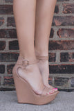 Natural Faux Leather Wrapped Platform Wedge VIVI-41