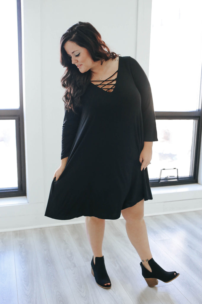Plus Size Black Shift Dress - Online Clothing Boutique
