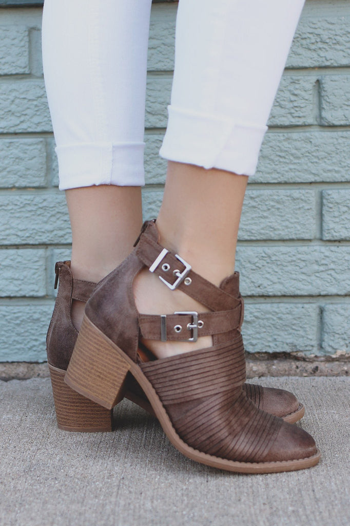 Taupe Ankle Cut Out Strap Detail Booties tobin-07
