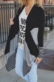 Black Color Block Long Sleeve Asymmetric Hem Cardigan