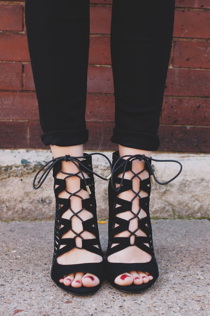 Black Faux Leather Open Toe Caged Heel Tobias-H
