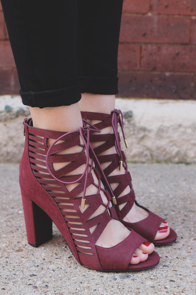 Burgundy Faux Leather Open Toe Caged Heel Tobias-H