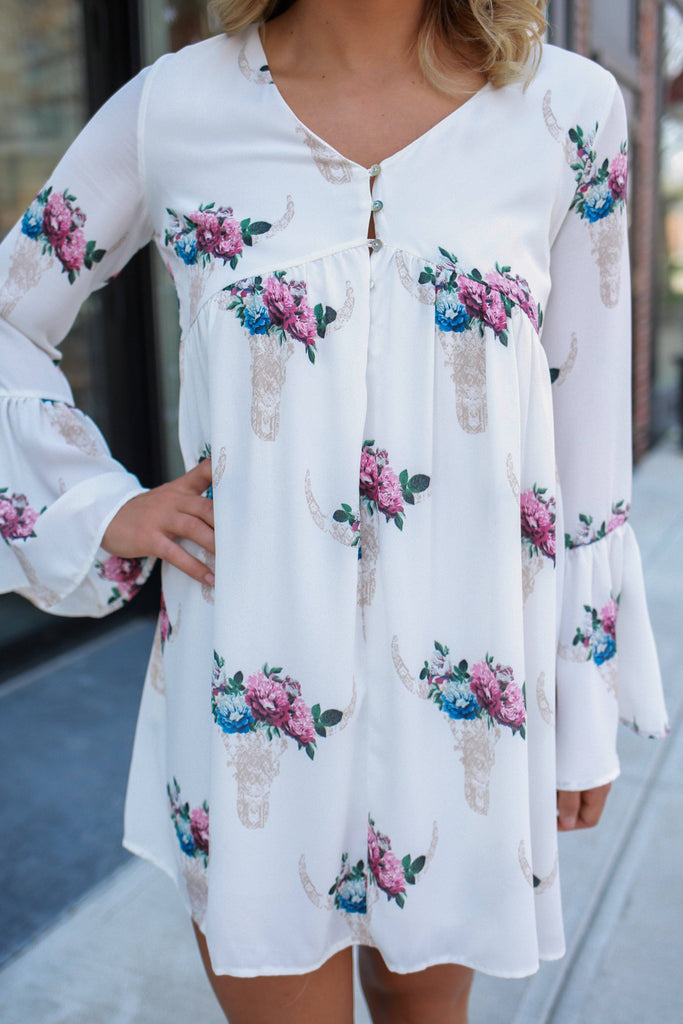 Long Bell Sleeve Button Accent Bullhead Print Dress