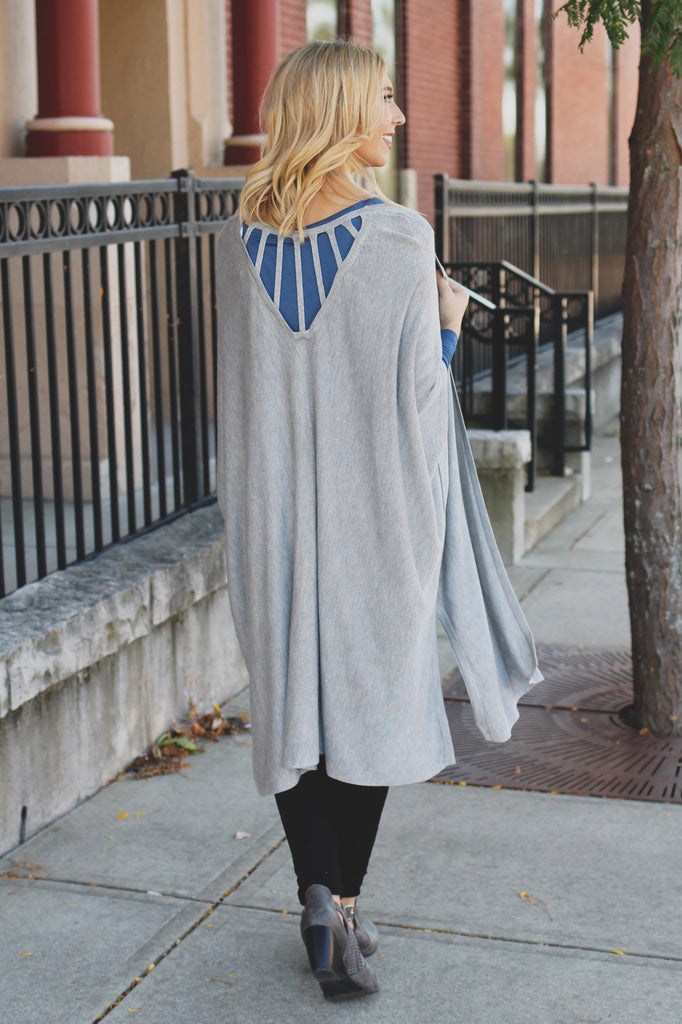 Heather Grey Short Sleeve Strappy Cut Out Back Cardigan