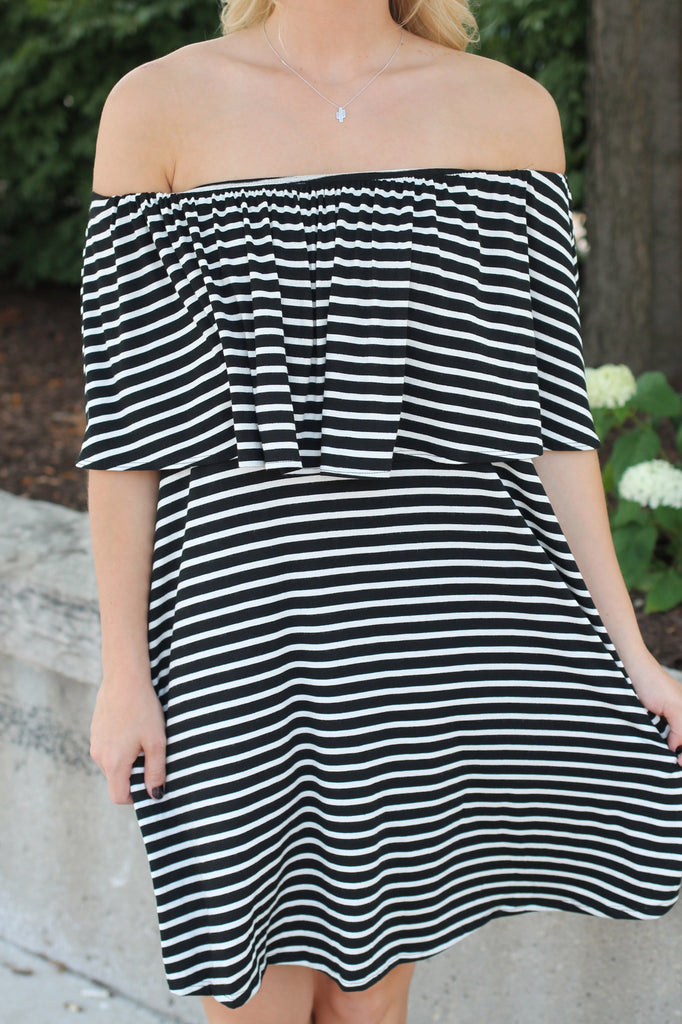 Stripe Elastic Top Off the Shoulder Flounce Layer Dress