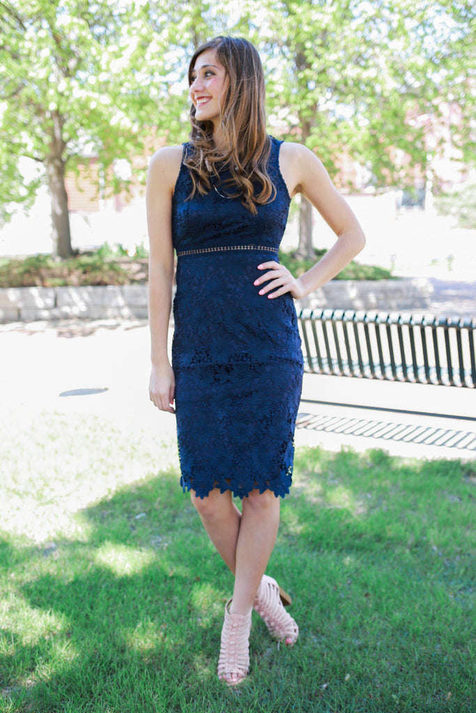 Navy Lace Sleeveless High Neck Midi Dress