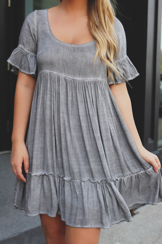 Ruffle Detail Ruched Sleeve Round Neck and Back Dress