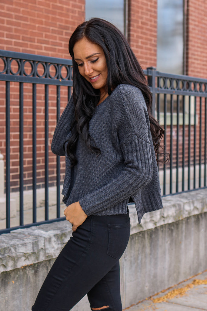 Cropped Knit Sweater - Online Clothing Boutique